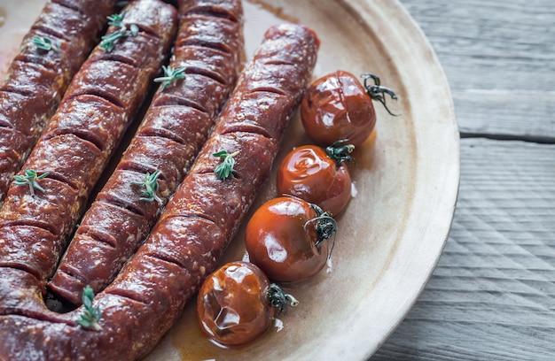 Chorizo rôti aux tomates cerises
