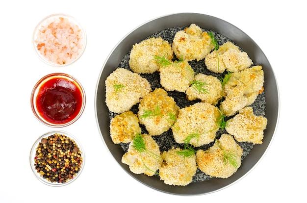 Chou-fleur, pané, chapelure, casserole