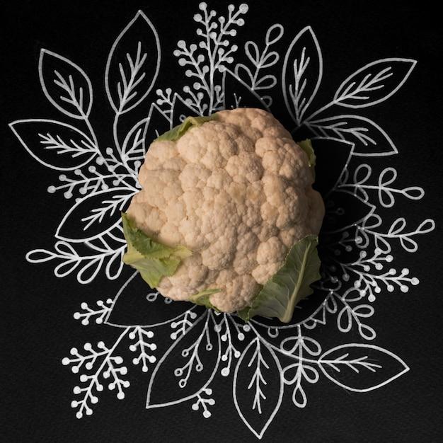 Chou-fleur sur table floral contour