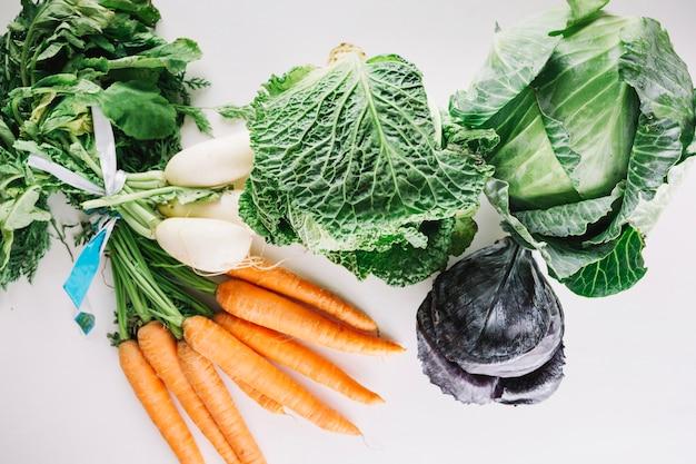 Chou près de la carotte et du radis