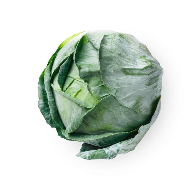 Un chou vert mûr isolé. image gros plan du légume idéal, des aliments biologiques naturels sains