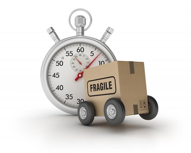 Chronomètre 3d avec boîte en carton sur roues