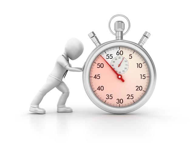 Chronomètre 3d avec personnage de dessin animé