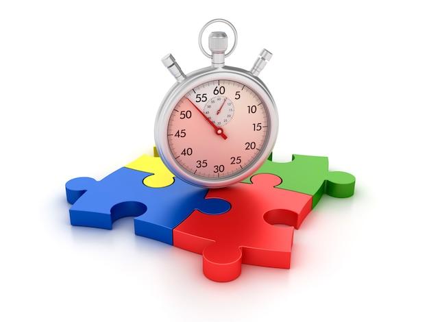 Chronomètre 3d sur des pièces de puzzle