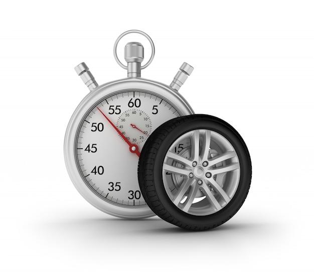 Chronomètre 3d avec roue de voiture