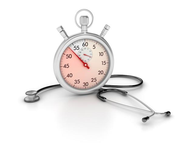Chronomètre 3d avec stéthoscope
