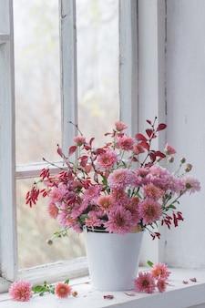 Chrysanthèmes roses sur le rebord de la fenêtre blanche