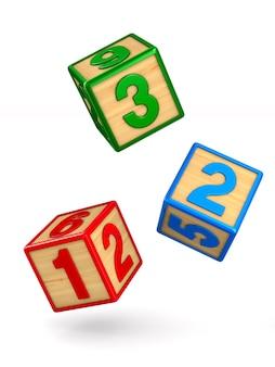 Chute de blocs avec des nombres. isolé, rendu 3d