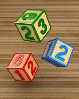 Chute de blocs avec des nombres. rendu 3d