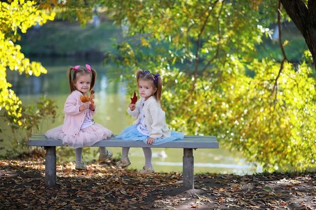 Chute des feuilles dans le parc. enfants pour une promenade dans le parc en automne. famille. tomber. joie.