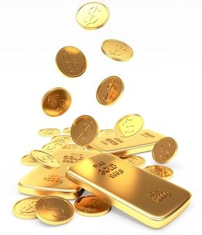 Chute des lingots et des pièces d'or