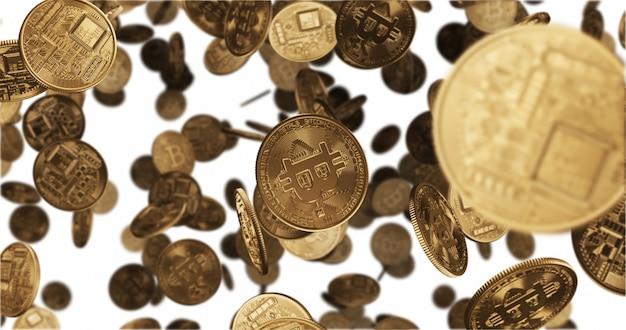 Chute de pièces d'or bitcoin
