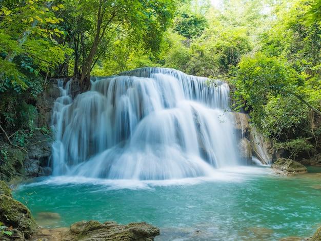 Chutes d'eau dans la forêt profonde au parc national, un beau ruisseau eau célèbre cascade de forêt tropicale en thaïlande