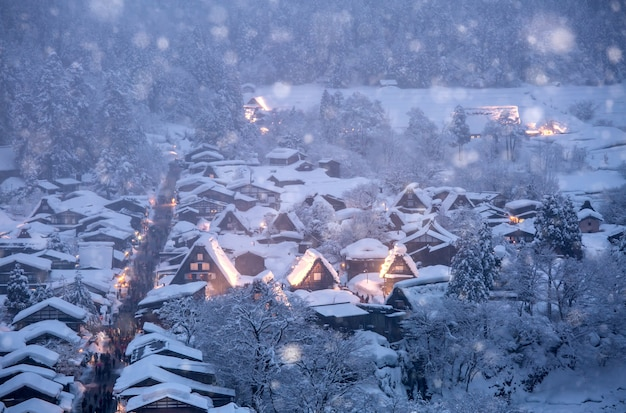 Chutes de neige éclairées à shirakawago