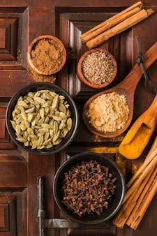 Ci-dessus, de délicieuses épices indiennes