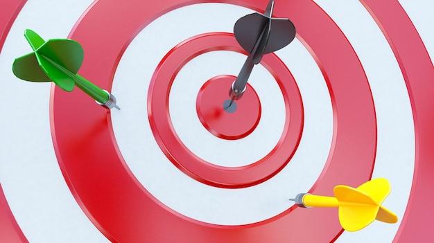 Cible avec une fléchette au centre. concept de réalisation objective.