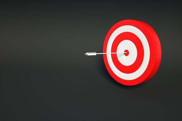 Cible rouge graphique réaliste 3d sur un fond noir et sombre isolé avec une fléchette au milieu. cible rouge, un jeu de fléchettes. modèle 3d sur fond sombre