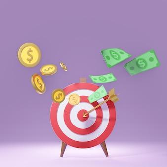 Cible de tir à l'arc rouge 3d avec des pièces d'or de flèche et des billets de banque en argent. concept de marketing. rendu d'illustrations 3d.