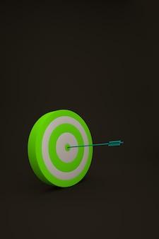 Cible verte graphique 3d sur fond noir isolé. cible verte, une cible sur un fond noir et sombre isolé avec une fléchette au milieu. graphiques 3d