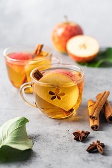 Cidre de pomme avec des tranches de pomme cannelle et étoiles d'anis dans des tasses transparentes