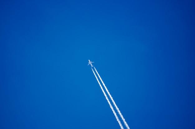 Ciel bleu et avion de passagers.