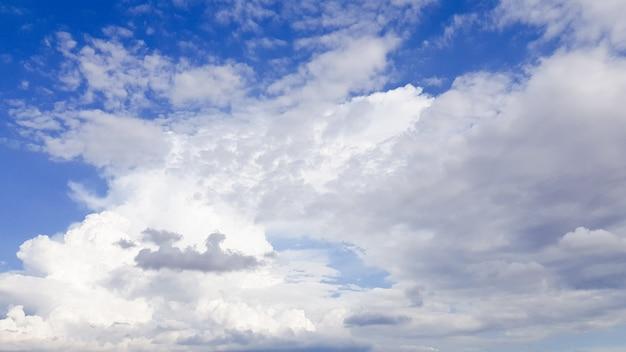 Ciel bleu sur fond de nuage blanc.