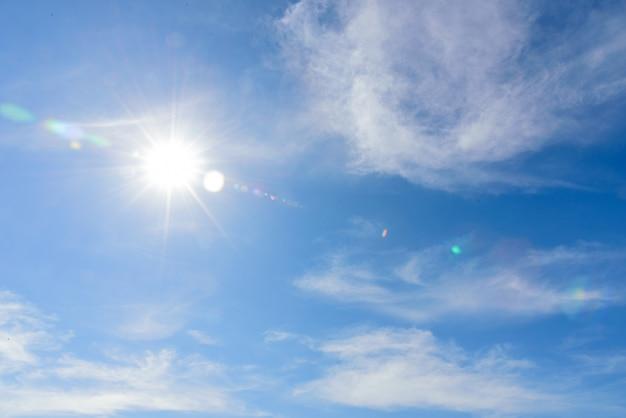 Ciel bleu avec des nuages le matin