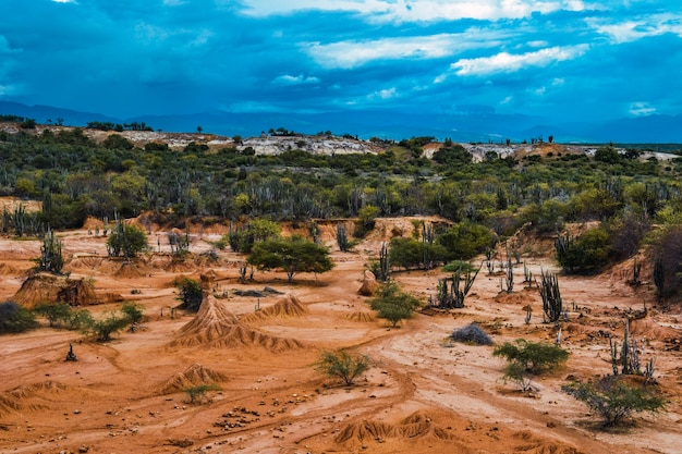 Ciel bleu nuageux sur une vallée dans le désert de tatacoa, colombie