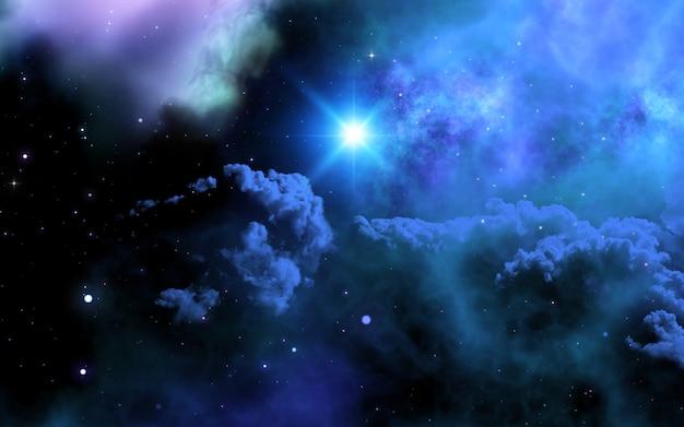 Ciel de l'espace 3d avec galaxie et étoile brillante