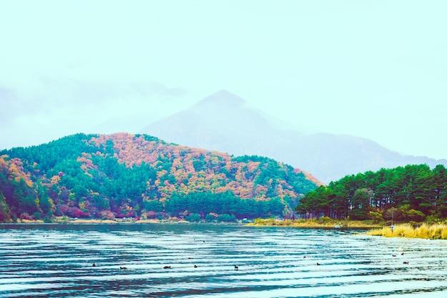 Ciel lac mont fuji eau