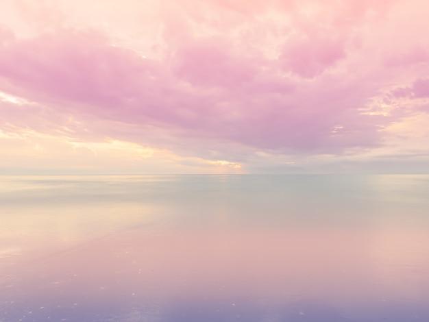 Ciel et mer de couleur pastel.beau fond de bord de mer de paysage.