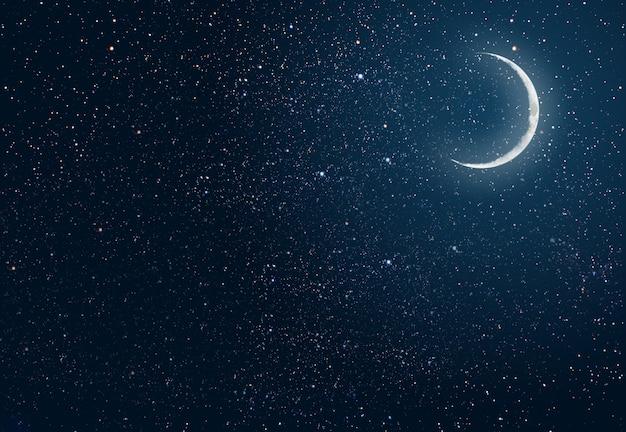 Ciel nocturne de fond avec des étoiles et la lune. éléments de cette image fournis par la nasa