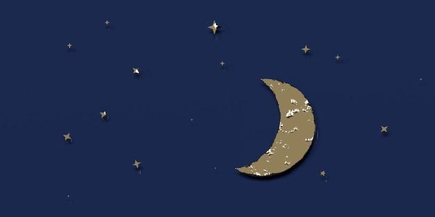 Ciel nocturne avec la lune et les étoiles illustration 3d