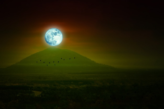 Ciel nocturne de pleine lune au-dessus des oiseaux de colline et de montagne et silhouette volant, éléments de cette image fournis par la nasa
