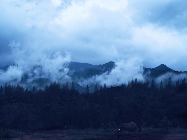 Ciel nuageux avec une belle montagne.