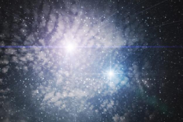 Ciel nuageux avec étoiles