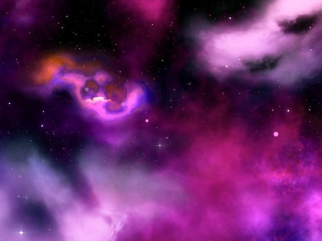 Ciel de nuit abstraite 3d avec nébuleuse et étoiles