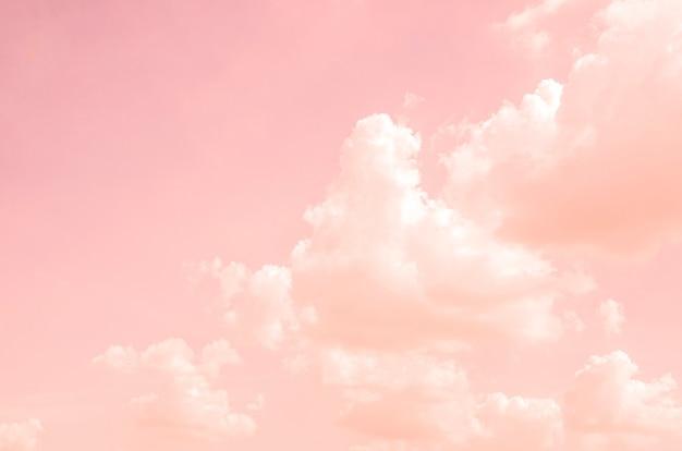 Ciel rose avec des nuages blancs avec fond flou