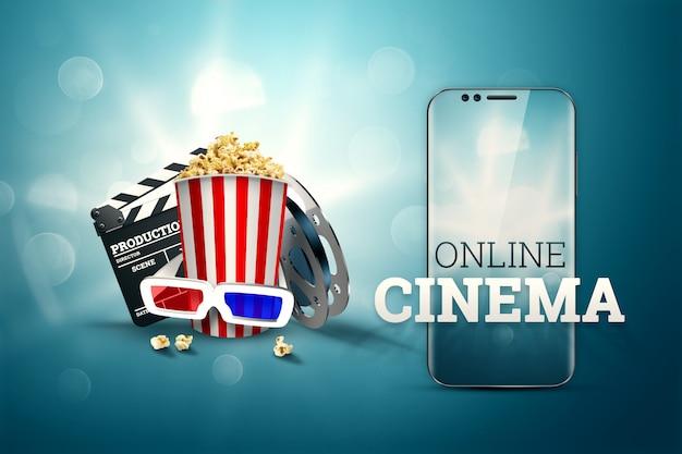 Cinéma, attributs du cinéma, cinémas, films, visionnage en ligne, maïs soufflé et lunettes.