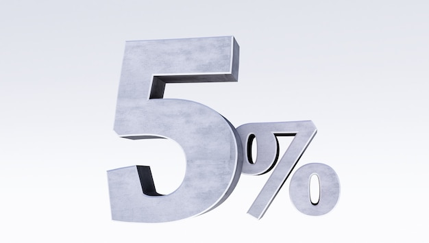 Cinq (5) pour cent isolé sur fond blanc., 5 pour cent de réduction