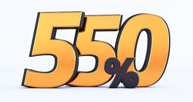 Cinq cent cinquante 550% de rabais sur la vente. pourcentage d'or isolé sur fond blanc. rendu 3d d'un or cinq cent cinquante pour cent