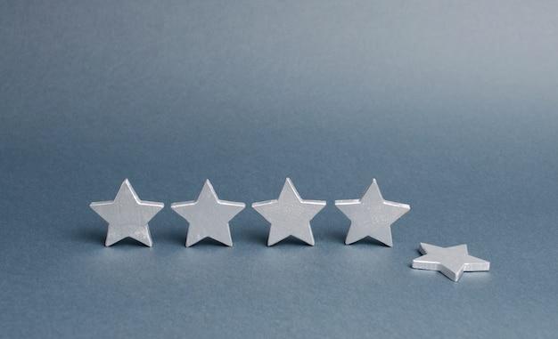 Cinq étoiles d'argent, une étoile est tombée