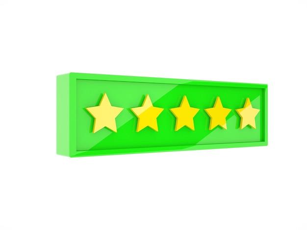 Cinq étoiles brillantes dans l'illustration 3d de la boîte verte