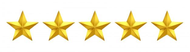 Cinq étoiles sur cinq. cinq étoiles d'or