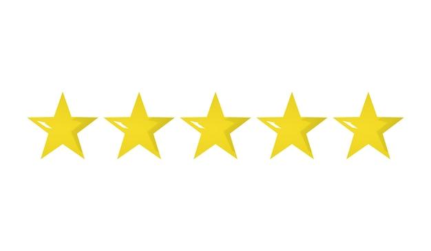 Cinq étoiles jaunes d'or d'affilée meilleure représentation graphique de concept de qualité supérieure isolée
