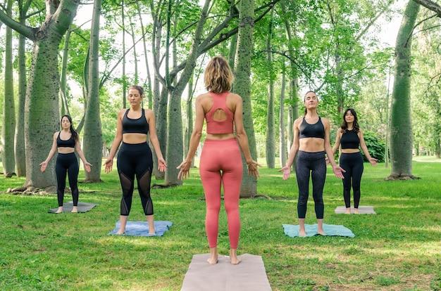 Cinq femmes faisant du yoga dans le parc