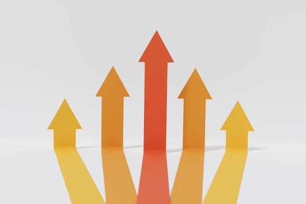 Cinq flèches orange et rouges du même début montent. tableau financier abstrait avec graphique de flèches de ligne étalé et monter isolé sur fond blanc. concept de réussite commerciale. rendu 3d