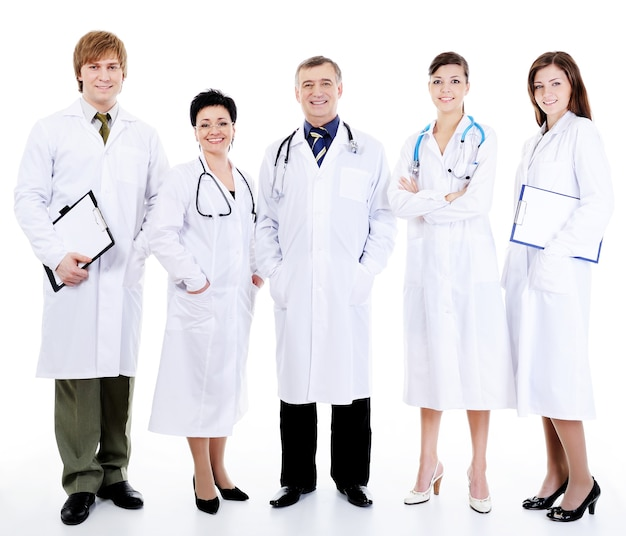 Cinq heureux médecins souriants réussis debout ensemble dans la rangée
