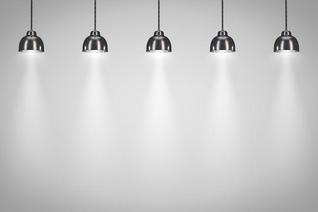 Cinq lampes noires sur fond blanc. rendu 3d.