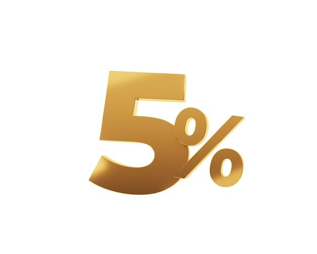 Cinq pour cent d'or sur fond blanc. rendu 3d.